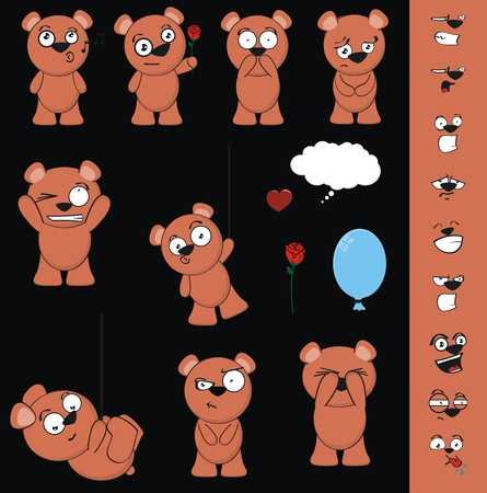 teddy bear cartoon set in vector format Çizim