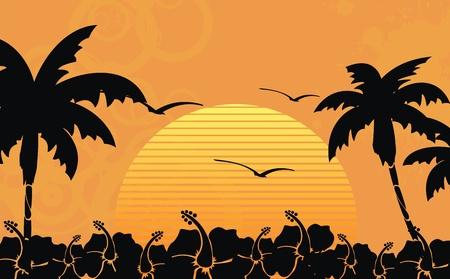 hawaiian tropical beach background in vector format