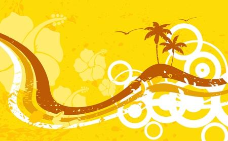Hawaiiaanse tropische beach achtergrond in vector-formaat Stock Illustratie