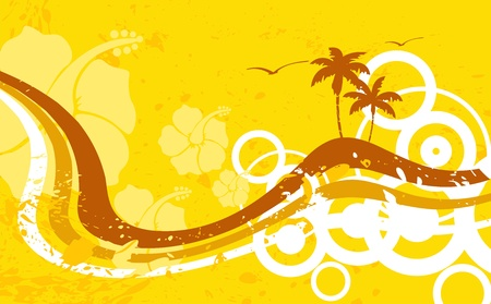 hawaiian tropical beach background in vector format 免版税图像 - 9883276
