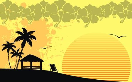 hawaiana: Fondo de playa tropical hawaiano en formato vectorial Vectores