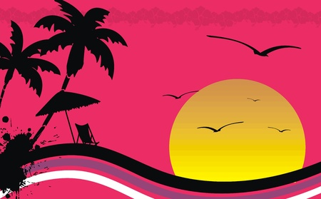 beach sunset: hawaiian tropical beach background in vector format