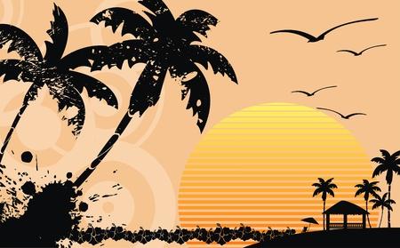 ハワイアン トロピカル ビーチ背景ベクトル形式で