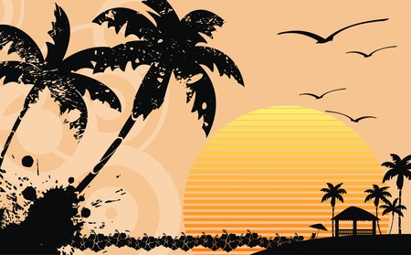 hawaiian tropical beach background in vector format Vector