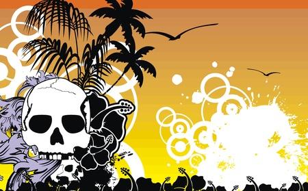tropical hawaii skull background in vector format Stock Vector - 10014472