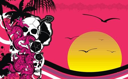 tropical hawaii skull background in vector format Vector
