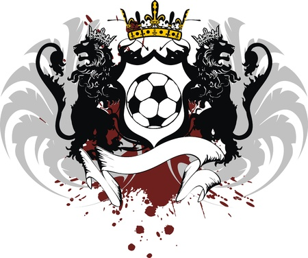 heraldic soccer lion crest in vector format Vector