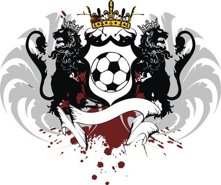winged: heraldic soccer lion crest in vector format Illustration