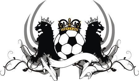ベクトル形式の紋章入りサッカー ライオン クレスト