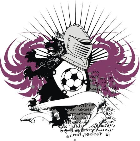 heraldic soccer lion crest in vector format Stock Illustratie