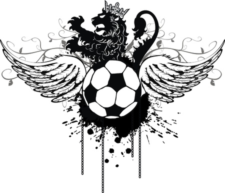 heraldic soccer lion crest in vector format Illustration