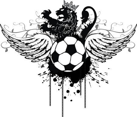 heraldische leeuw voetbal kam in vector-formaat