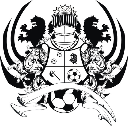 heraldic shield: heraldic soccer lion crest in vector format Illustration