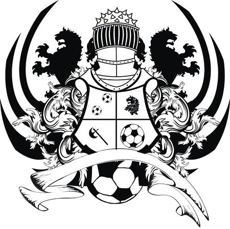 coat of arms shield: heraldic soccer lion crest in vector format Illustration