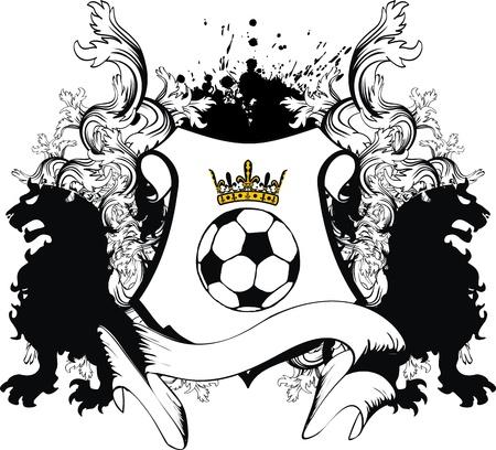 heraldic soccer lion crest in vector format Illustration