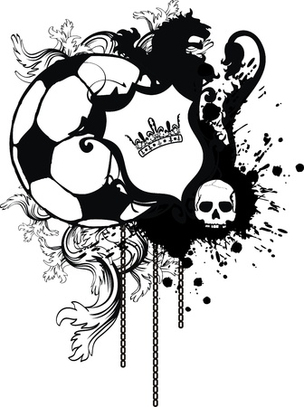 lion with wings: heraldic soccer lion crest in vector format Illustration