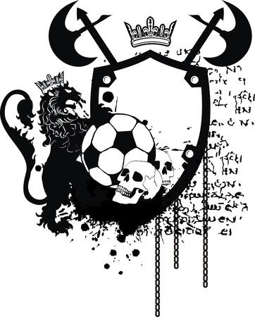 heraldic soccer lion crest in vector format 矢量图像