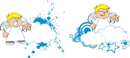 angry angel: angel kid cartoon copysapce in vector format Illustration
