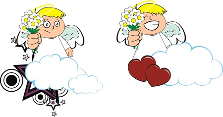 copysapce: angel kid cartoon copysapce in vector format Illustration