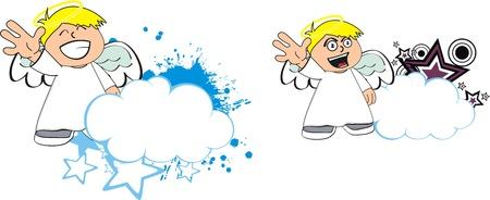 angel kid cartoon copysapce in vector format Çizim