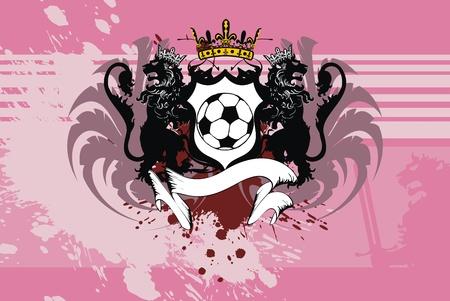 soccer: heraldic soccer lion background in vector format