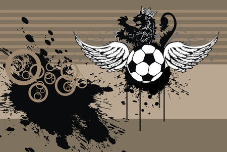 heraldic soccer lion background in vector format Vector