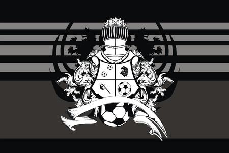 Voetbal heraldische leeuw achtergrond in vector-formaat