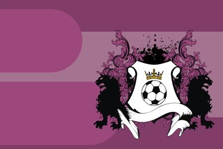 heraldic soccer lion background in vector format Vector