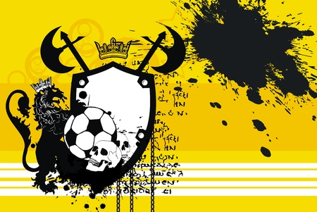 heraldic soccer lion background in vector format