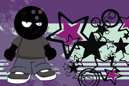 bowling kid cartoon background in vector format Vector