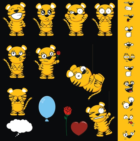 tiger cartoon set in vector format Vector