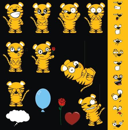tiger cartoon set in vector format