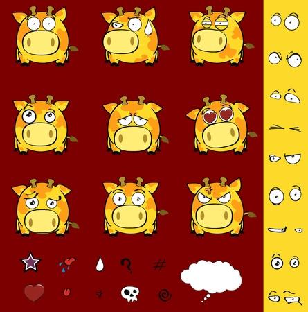 giraffe ball cartoon set in vector format