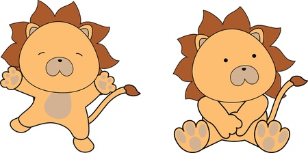 cute cartoon: lion baby cartoon in vector format Illustration