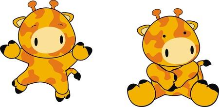 jirafa caricatura: dibujos animados de beb� jirafa en formato vectorial Vectores