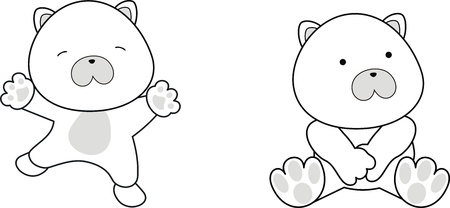 polar bear baby cartoon in vector format Çizim
