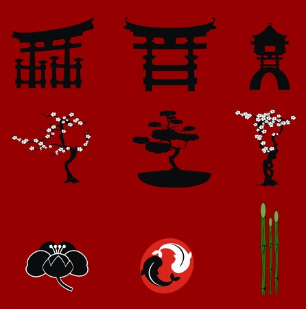 tree isolated: japan elemments set in vector format