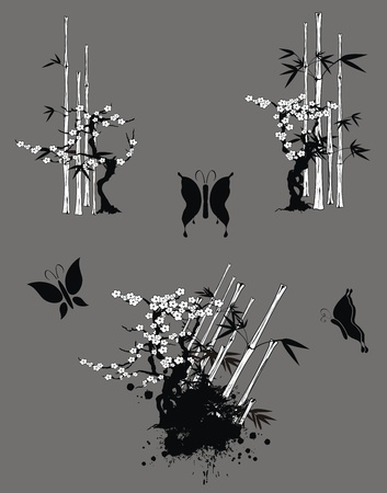 japan bamboo set in vector format Vector