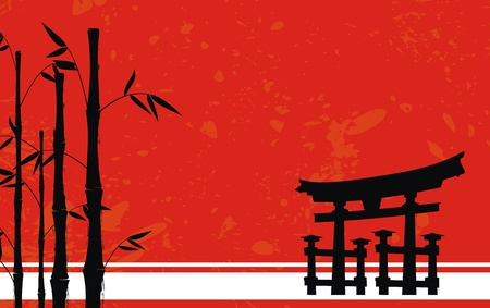 asian art: japan bamboo background in vector format