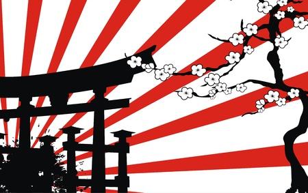 Japan bamboe achtergrond in vector-formaat Stock Illustratie