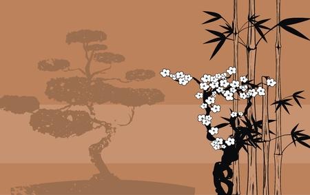 벡터 형식으로 일본 대나무 배경
