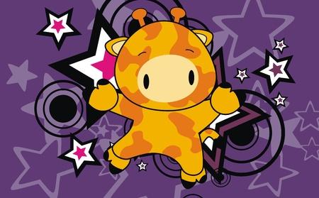 giraffe baby cartoon jump background  Vector