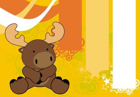 reindeer baby cartoon sit background in vector format Stock Vector - 10251656
