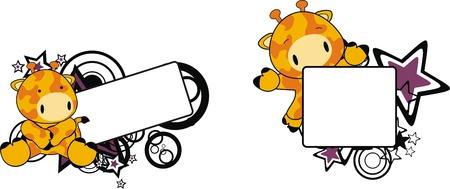 child sitting: giraffe baby cartoon copyspace in vector format Illustration