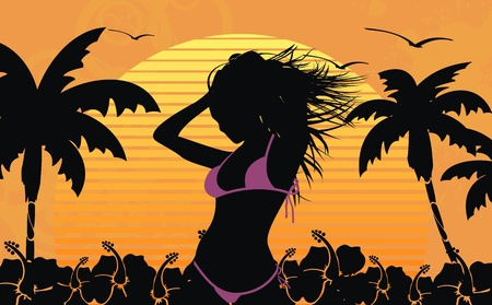 beach sunset: tropical hawaii girl background  Illustration