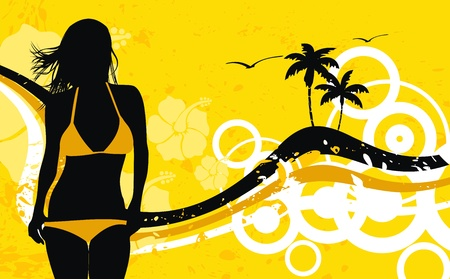 tropical hawaii girl background  Иллюстрация