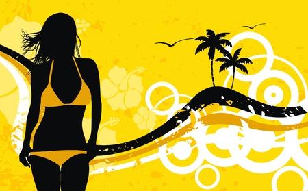 gir: tropical hawaii girl background  Illustration