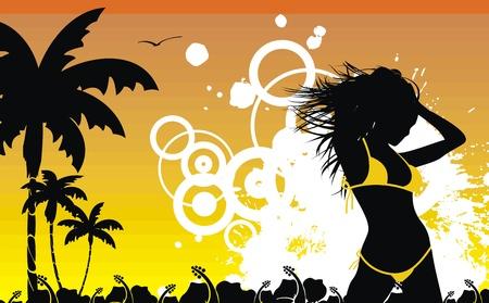 熱帯のハワイの女の子の背景  イラスト・ベクター素材