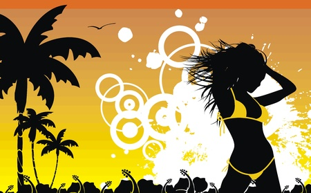 tropical hawaii girl background   Vector