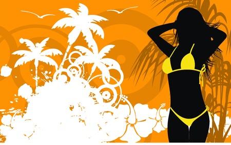 tropical hawaii girl background   Vector